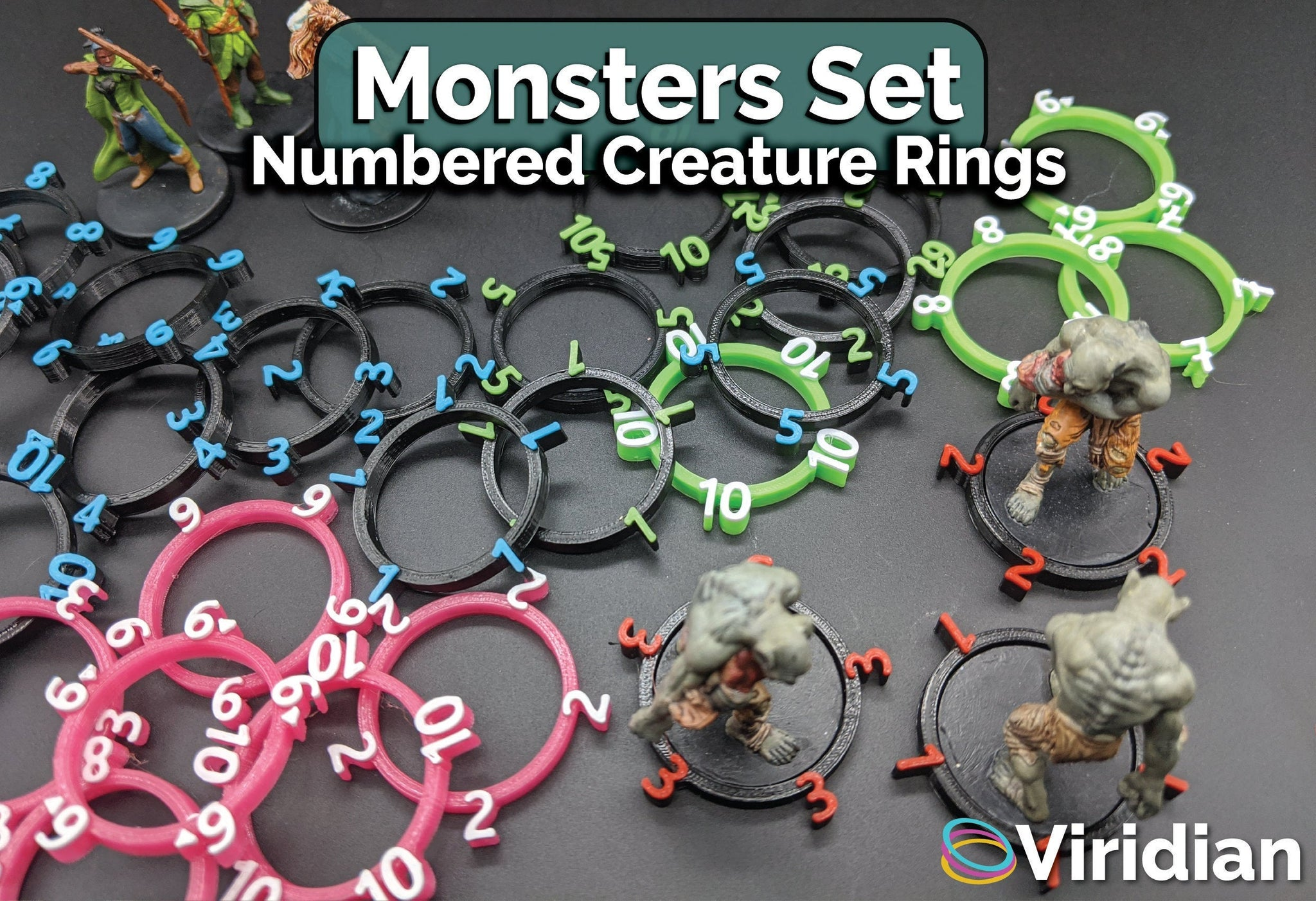 10 Numbered Creature Tracking Rings | D&D
