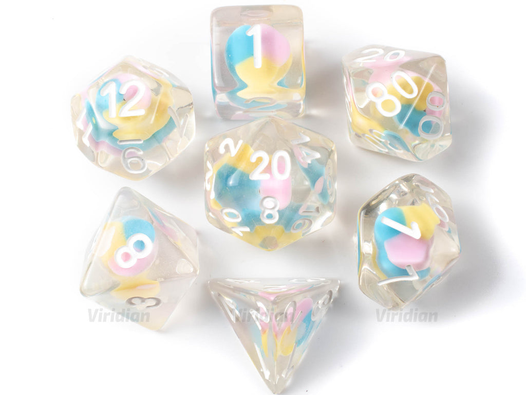 Piña Colada | Blue, Pink, Yellow Cotton Candy Bead Inside Clear Resin Dice Set (7) | Dungeons and Dragons (DnD)