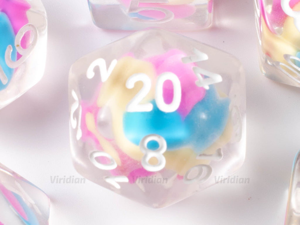 Cake Batter | Blue, Pink, Yellow Cotton Candy Bead Inside Clear Resin Dice Set (7) | Dungeons and Dragons (DnD)