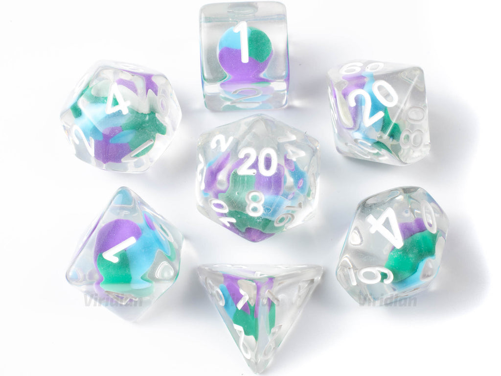 Sour Swirl | Blue, Green, Purple Cotton Candy Bead Inside Clear Resin Dice Set (7) | Dungeons and Dragons (DnD)
