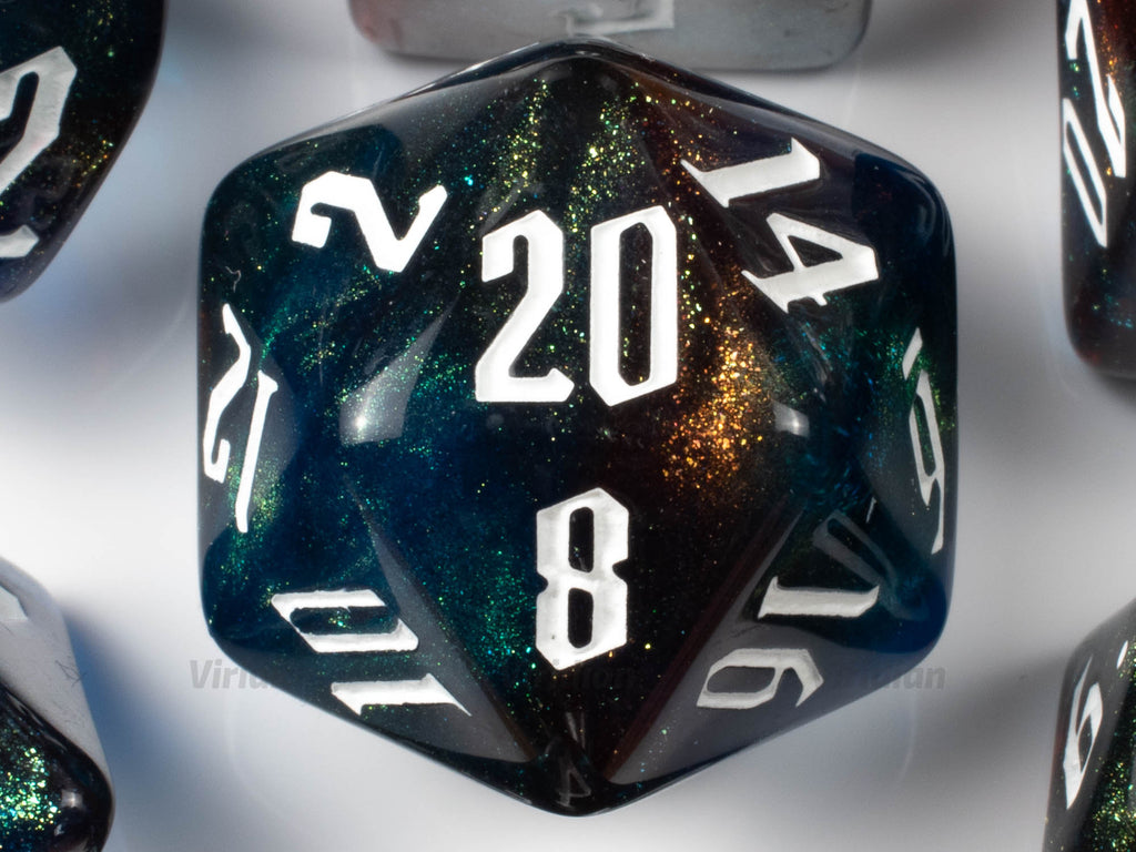 Aquaman | Orange, Blue, Green Glittery Acrylic Dice Set (7) | Dungeons and Dragons (DnD)