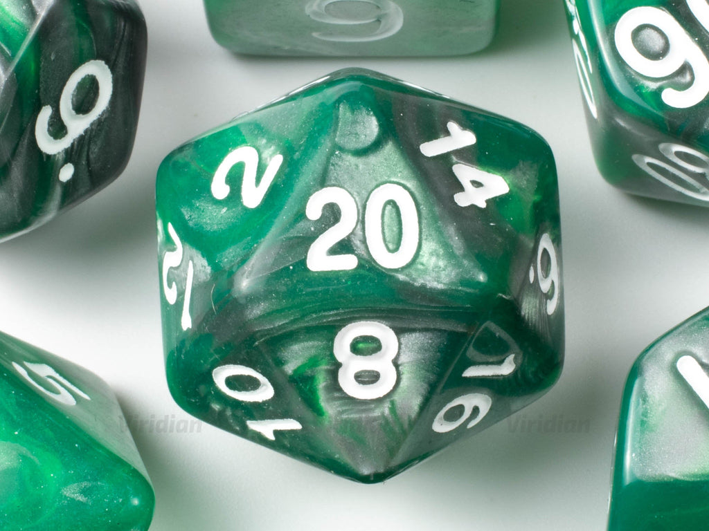 Bio-Mechanical | Grey and Green Swirled Acrylic Dice Set (7) | Dungeons and Dragons (DnD)
