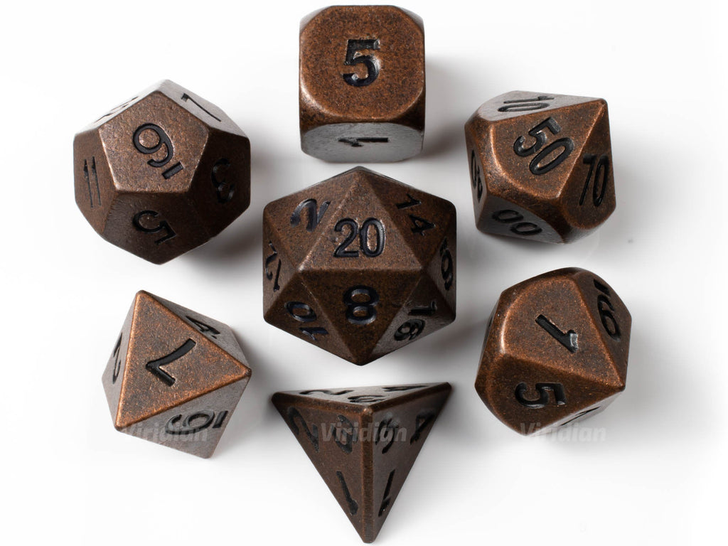 Doubloons | Distressed Copper Metal Dice Set (7) | Dungeons and Dragons (DnD) | Tabletop RPG Gaming