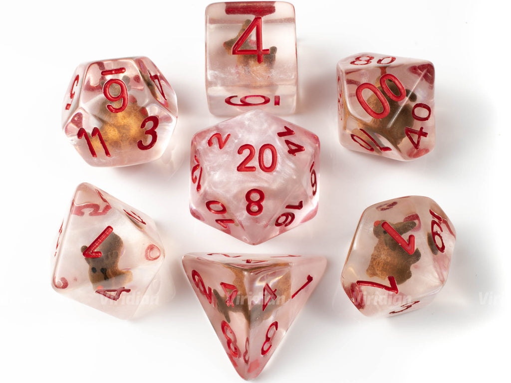 Rudolph | Reindeer Inside Clear Resin Dice Set (7) | Dungeons and Dragons (DnD)