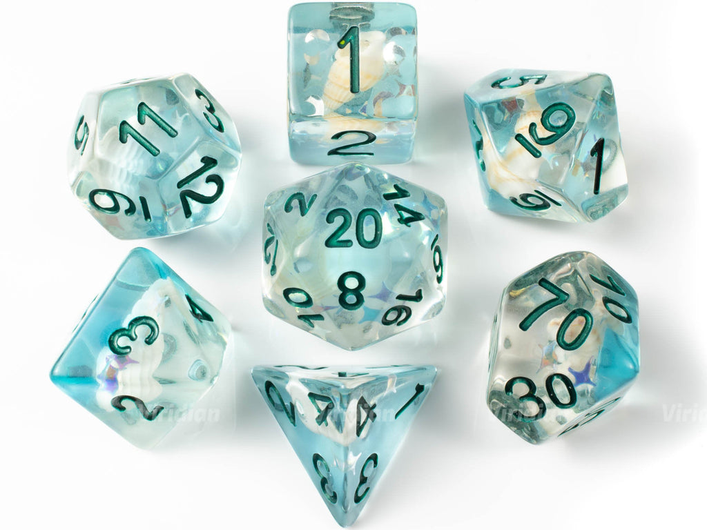 Caribbean Crush | Sea Shell | Blue, Real Conch Shell Inside Resin Dice Set (7) | Dungeons and Dragons (DnD)