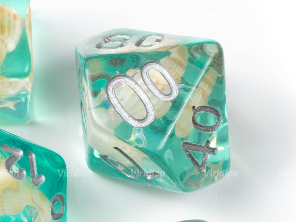Island Breeze | Sea Shell | Turquoise, Real Conch Shell Inside Resin Dice Set (7) | Dungeons and Dragons (DnD)