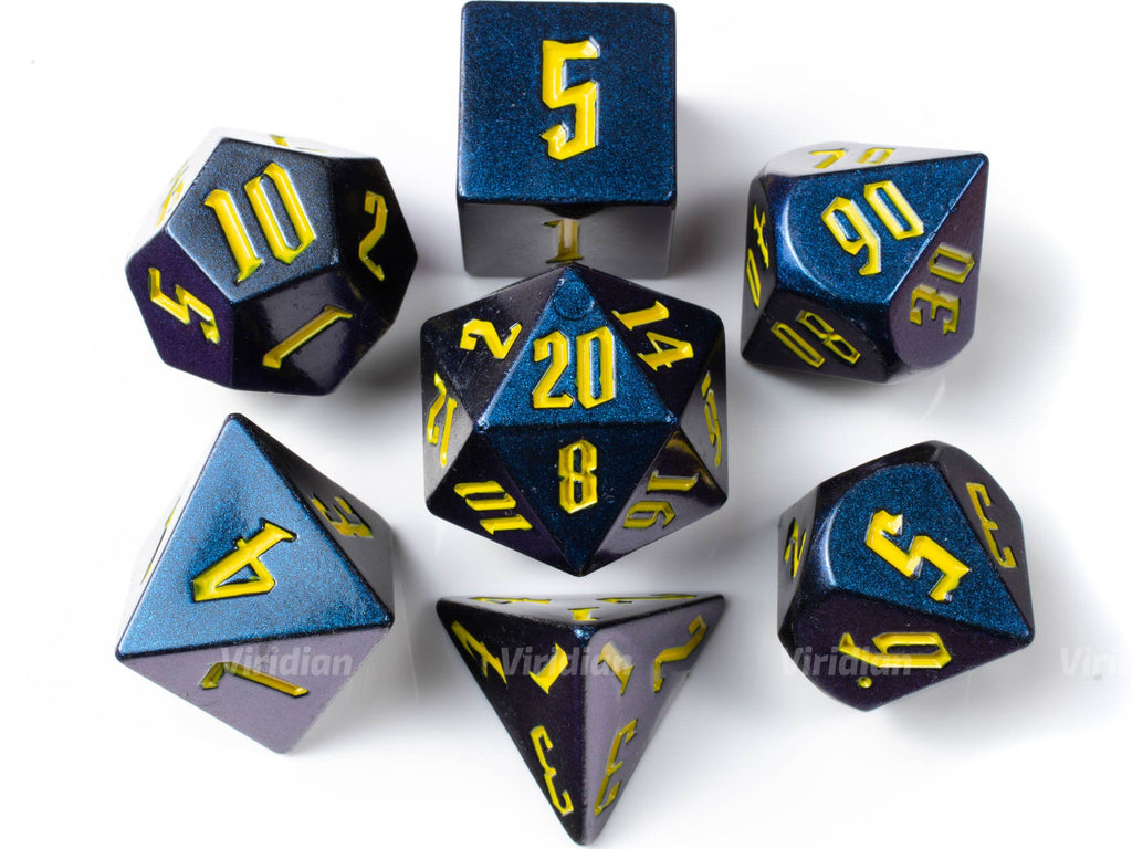 Beast | Blue, Purple Glittery Light Change Large Dice Set (7) | Dungeons and Dragons (DnD)