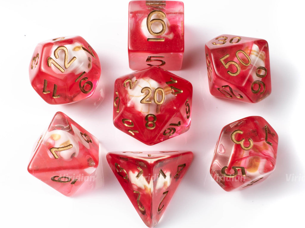 Bloodied | Skull Inside with Red Ink Resin Dice Set (7) | Dungeons and Dragons (DnD)