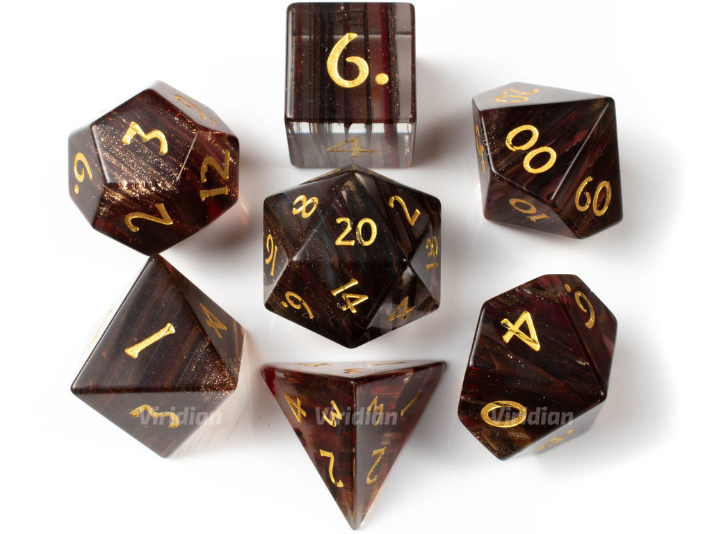 Blonde Hair Glass | Real Gemstone Dice Set (7) | Dungeons and Dragons (DnD) | Tabletop RPG Gaming
