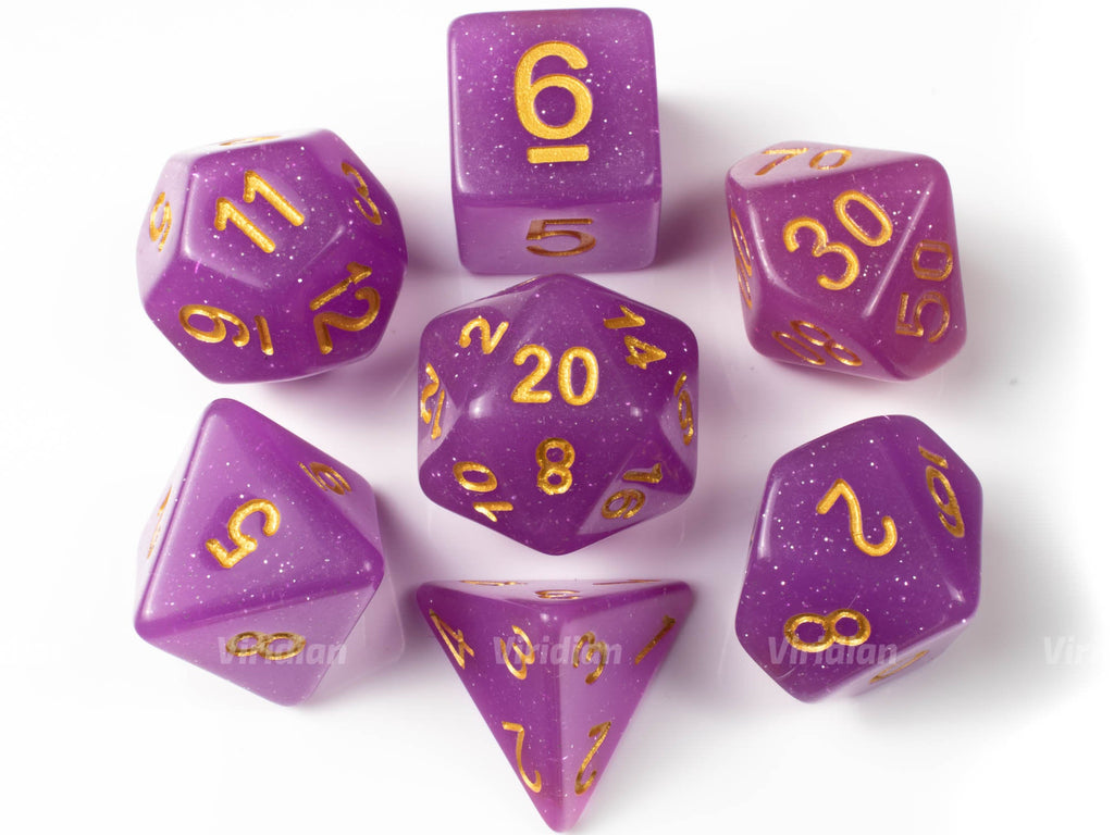 Charmed | Purple Glitter Acrylic Dice Set (7) | Dungeons and Dragons (DnD)