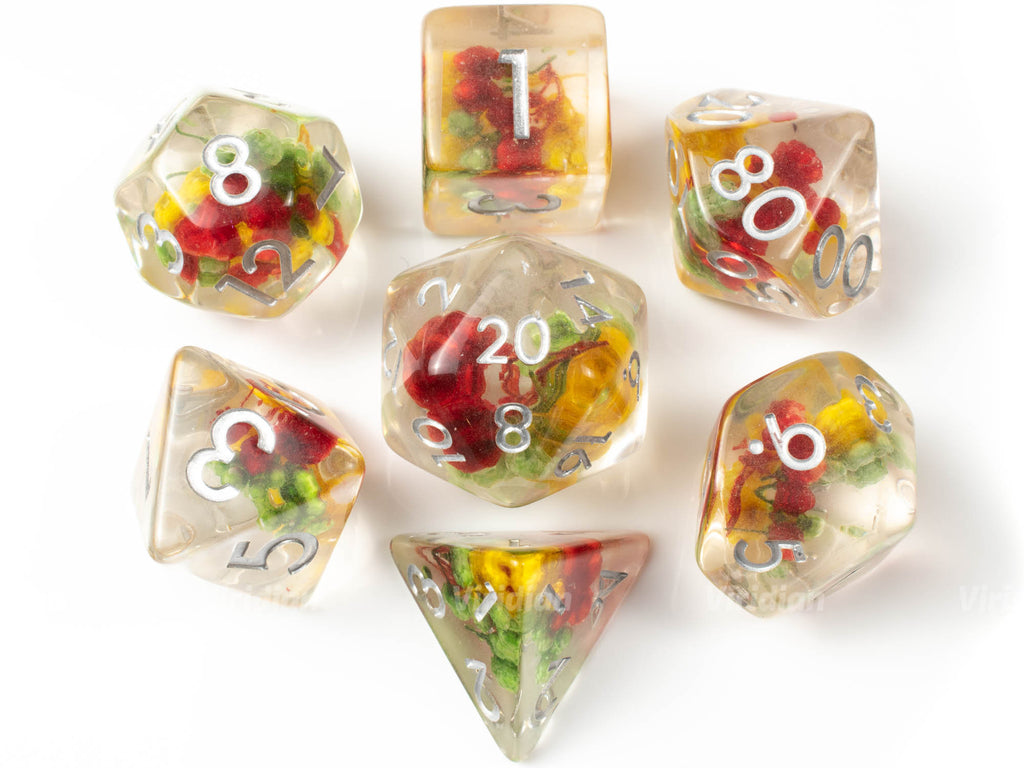 Tri-Flower Frond | Red, Yellow, Green Petals Inside Clear Resin Dice Set (7) | Dungeons and Dragons (DnD)