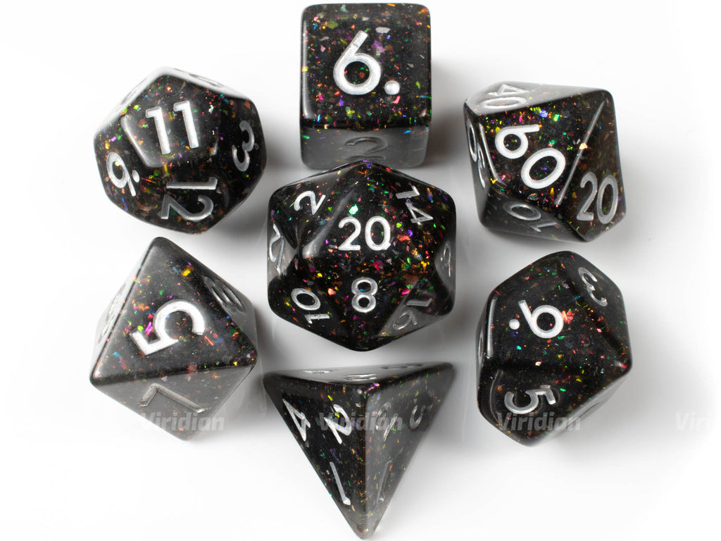 Prismatic Spray | Black with Rainbow Mica Glitter Resin Dice Set (7) | Dungeons and Dragons (DnD)