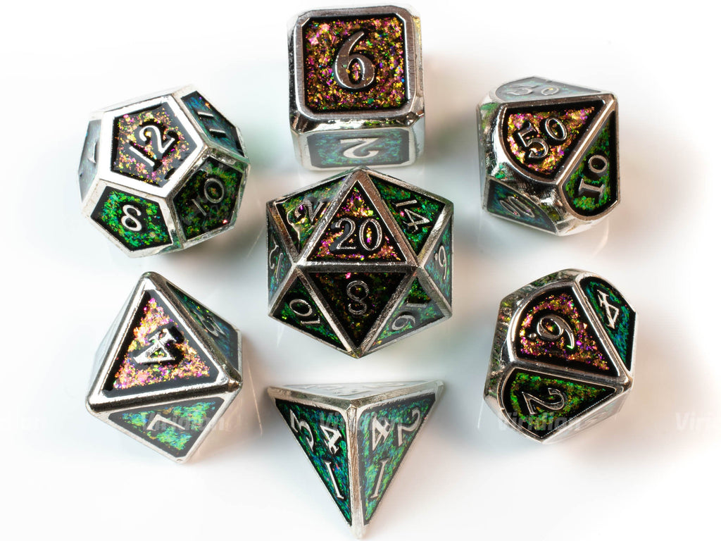 Chameleon | Red, Green and Golden Iridescent Mica Metal Dice Set (7) | Dungeons and Dragons (DnD)