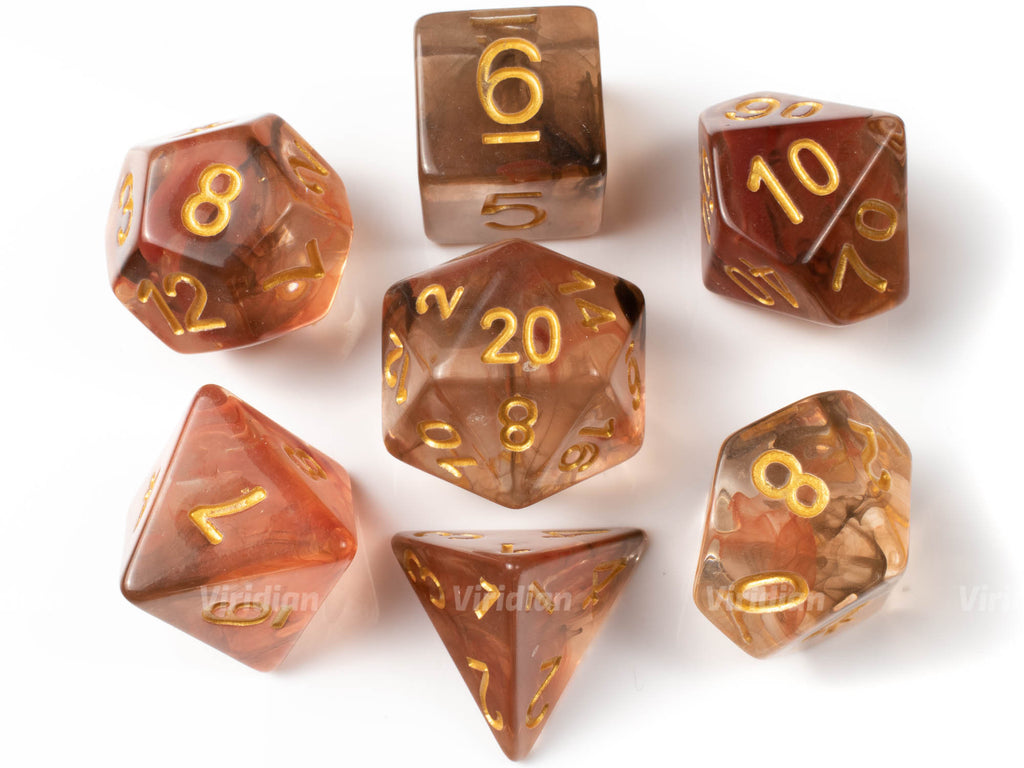 Earth Elemental | Black, Brown and Red Swirled Resin Dice Set (7) | Dungeons and Dragons (DnD)