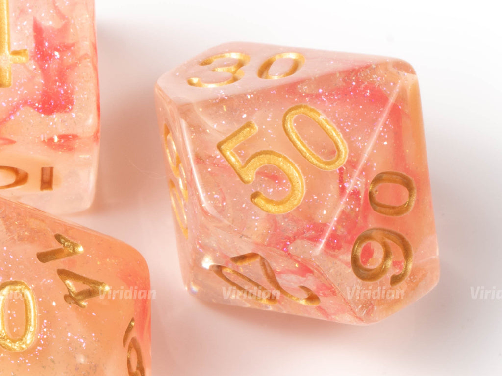 Milky Rose | Pink and Beige, Glittery Swirled Resin Dice Set (7) | Dungeons and Dragons (DnD)