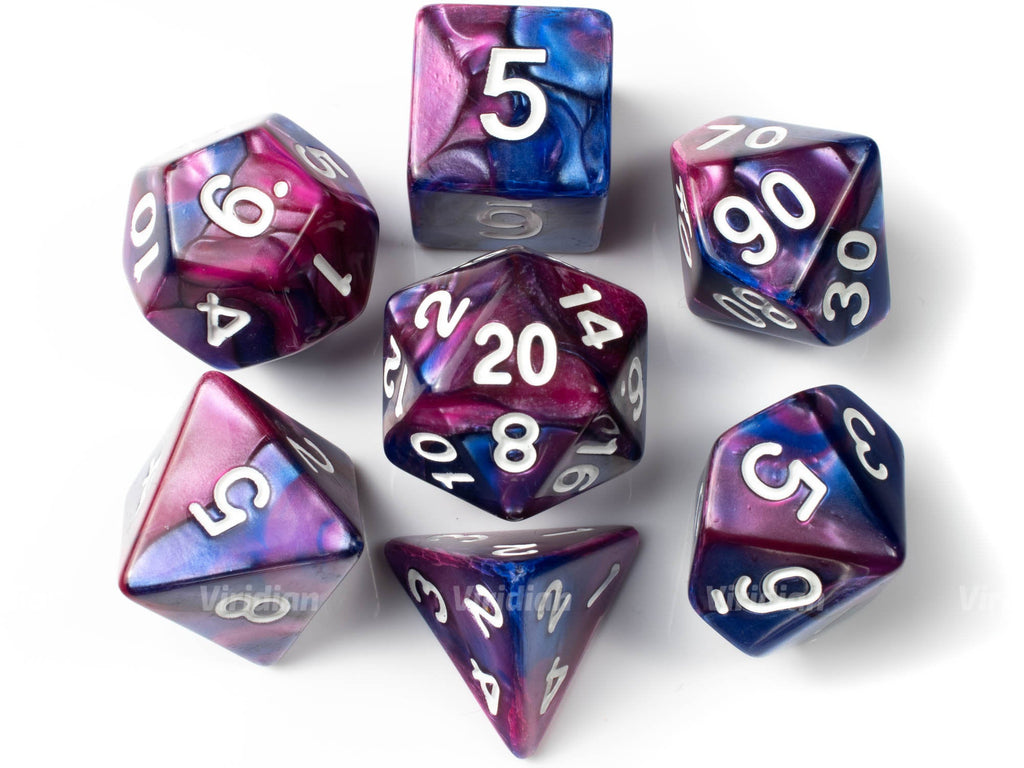 Boo Berry | Purple and Blue Opaque Marbled Acrylic Dice Set (7) | Dungeons and Dragons (DnD)