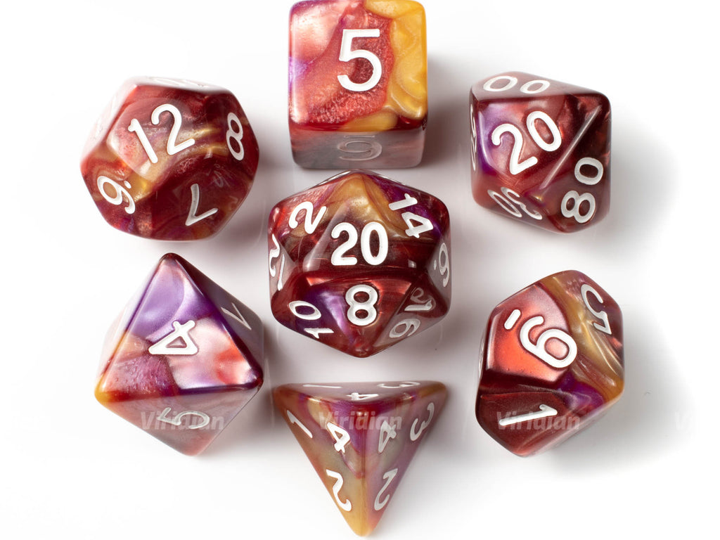 Apricot Delight | Red, Orange and Purple Marbled Acrylic Dice Set (7) | Dungeons and Dragons (DnD)