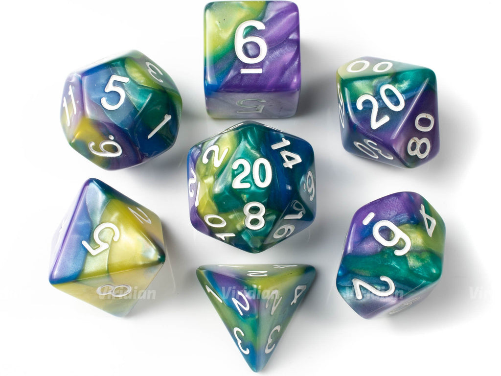 Esmeralda | Purple, Blue, Green, and Yellow Marbled Acrylic Dice Set (7) | Dungeons and Dragons (DnD)