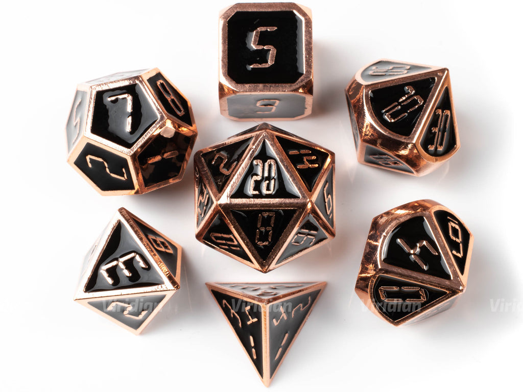 End of Time | Black Enamel, Digital Numbered Metal Dice Set (7) | Dungeons and Dragons (DnD) | Tabletop RPG Gaming