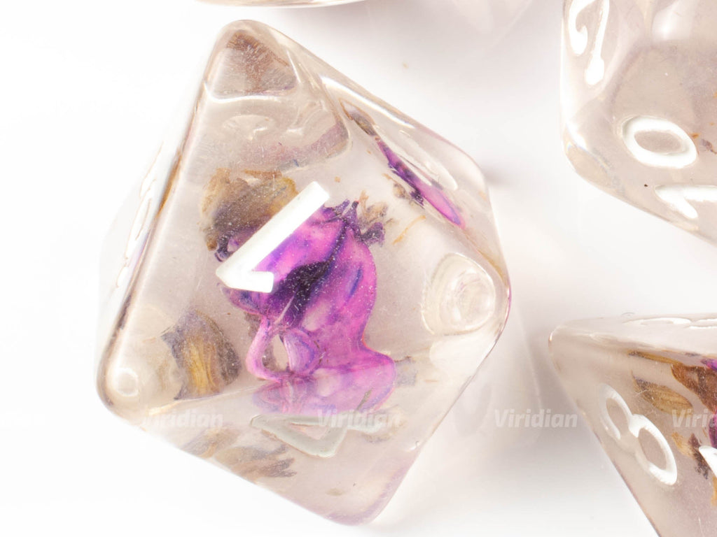 Purple Flower | Resin Dice Set (7) | Dungeons and Dragons (DnD)
