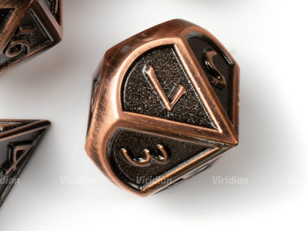 Cannonball | Stylized Shiny Bronze & Matte Metal Dice Set (7) | Dungeons and Dragons (DnD) | Tabletop RPG Gaming