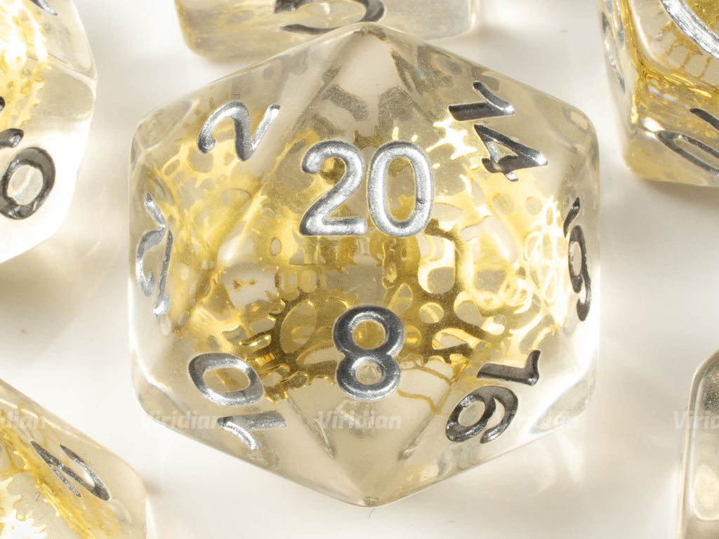 Golden Gears | Clear Resin Dice Set (7) | Dungeons and Dragons (DnD)