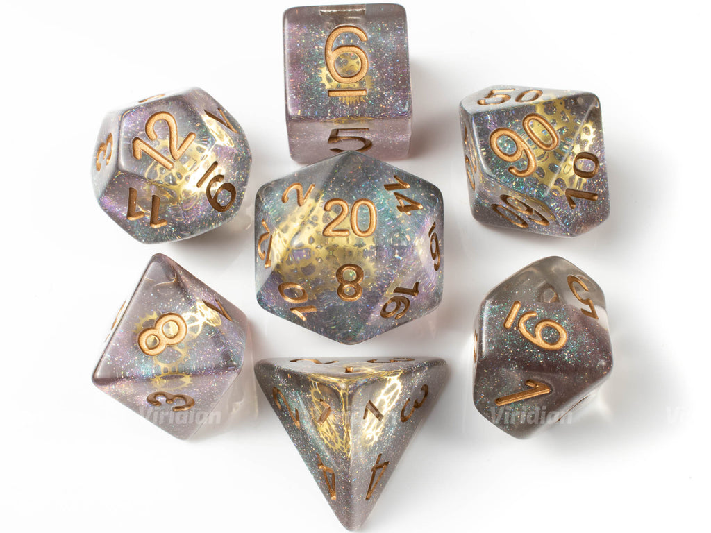 Glitter Gears | Clear Resin Dice Set (7) | Dungeons and Dragons (DnD)