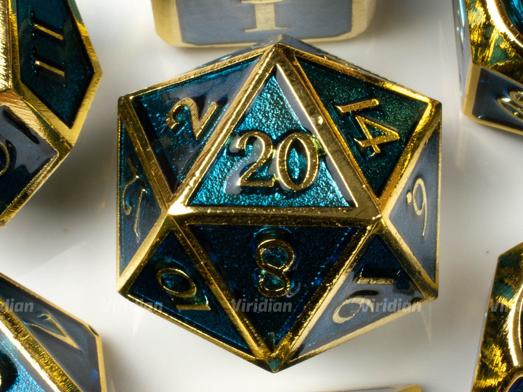 Cerulean Blue & Gold | Enamel Metal Dice Set (7) | Dungeons and Dragons (DnD)