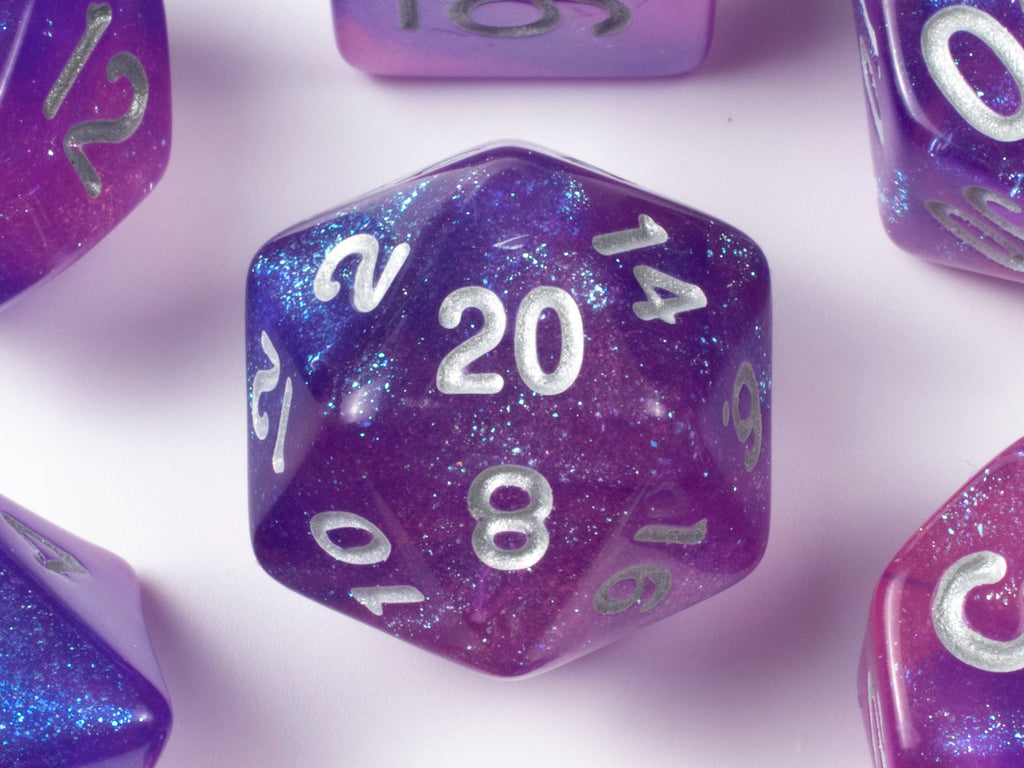 Arcane Variant (Silver) | Pink, Purple Glitter Acrylic Dice Set (7) | Dungeons and Dragons (DnD)