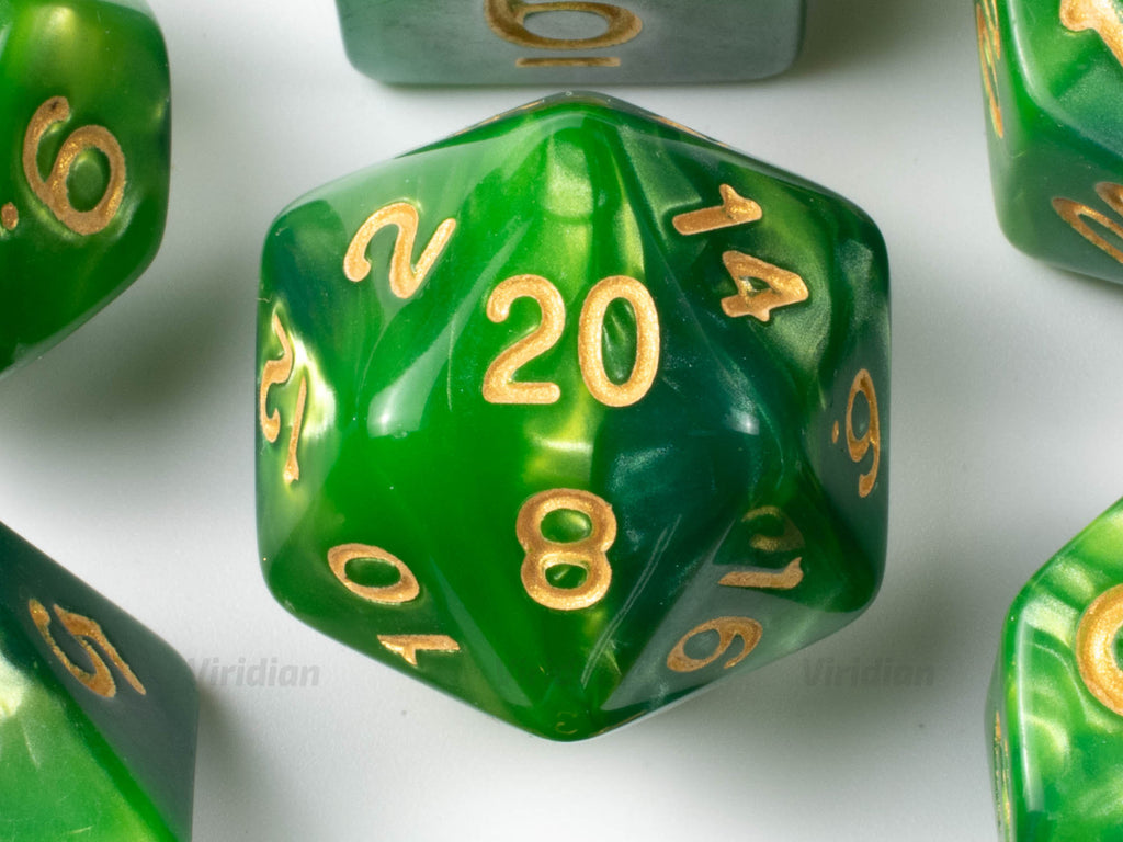 Acid Damage | Green Swirled Acrylic Dice Set (7) | Dungeons and Dragons (DnD)