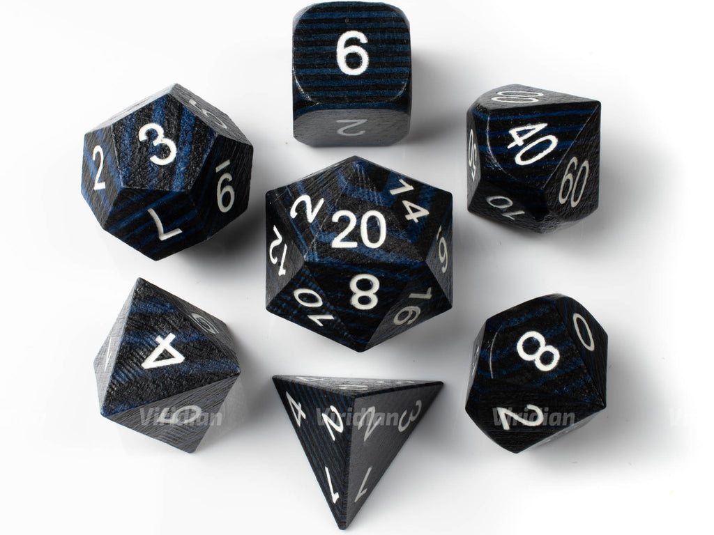 Striped Blue & Black | Wood Dice Set (7) | Dungeons and Dragons (DnD)