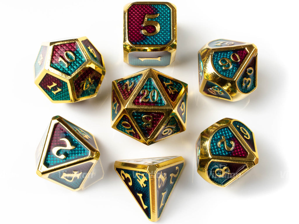Casino Royale | Gold with Red & Teal Enamel Metal Dice Set (7) | Dungeons and Dragons (DnD) | Tabletop RPG Gaming