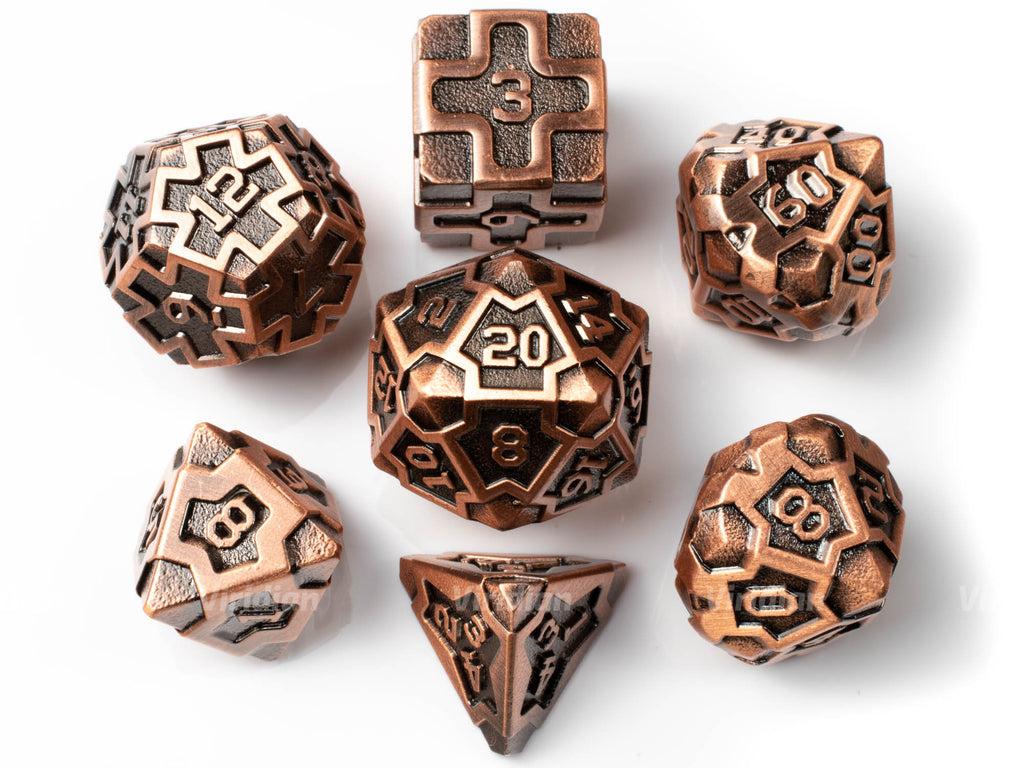 Copper Idol | Textured Design Metal Dice Set (7) | Dungeons and Dragons (DnD)