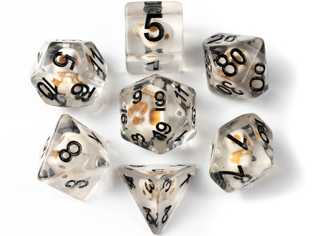 Crystal Skull | Clear Resin Dice Set (7) | Dungeons and Dragons (DnD)