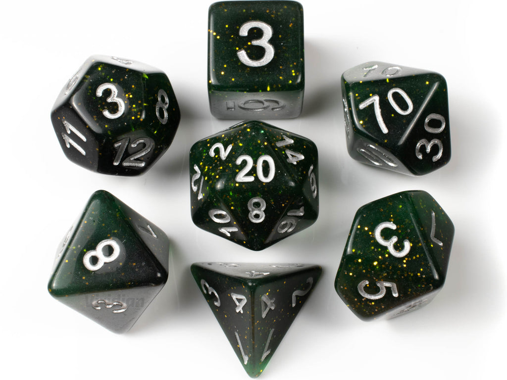 Fireflies | Deep Green, Gold Flakes Acrylic Dice Set (7) | Dungeons and Dragons (DnD)