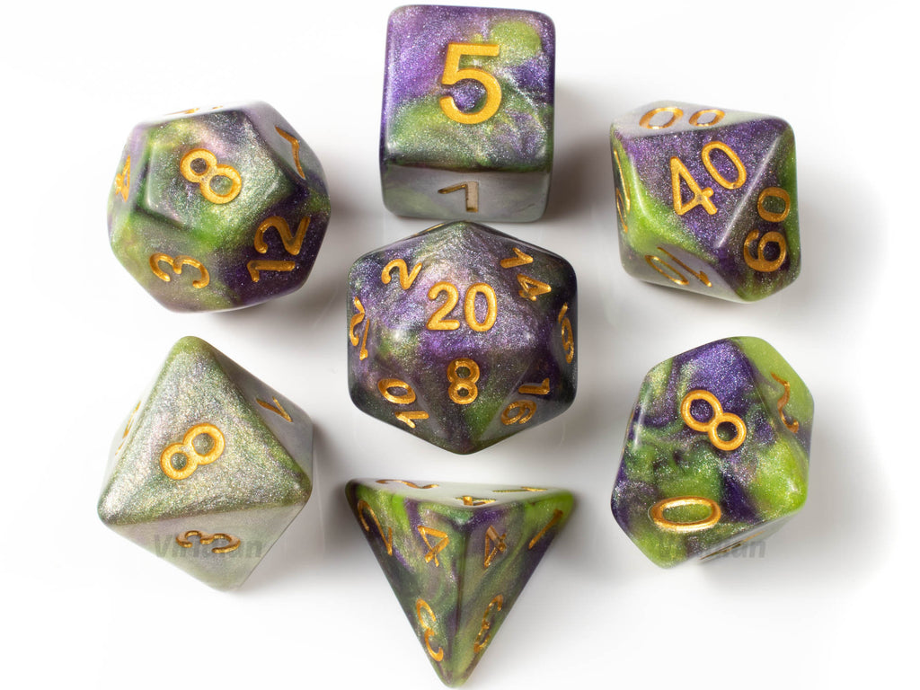 Awakened Slime | Green & Purple Glitter Swirled Acrylic Dice Set (7) | Dungeons and Dragons (DnD)