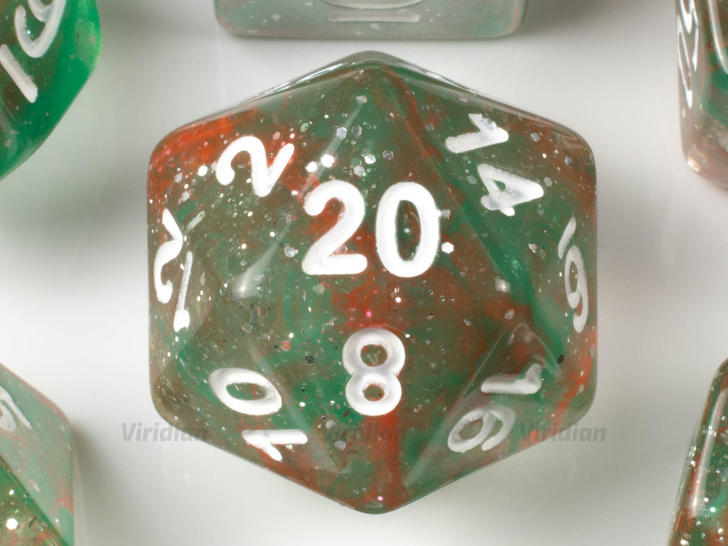 Ancient Grove | Green, Brown Orange Swirled Acrylic Dice Set (7) | Dungeons and Dragons (DnD)