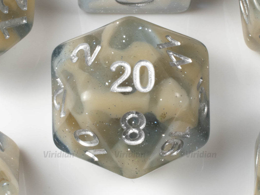 Beach Surf | Tan & Beige Haze Swirled Glitter Acrylic Dice Set (7) | Dungeons and Dragons (DnD)