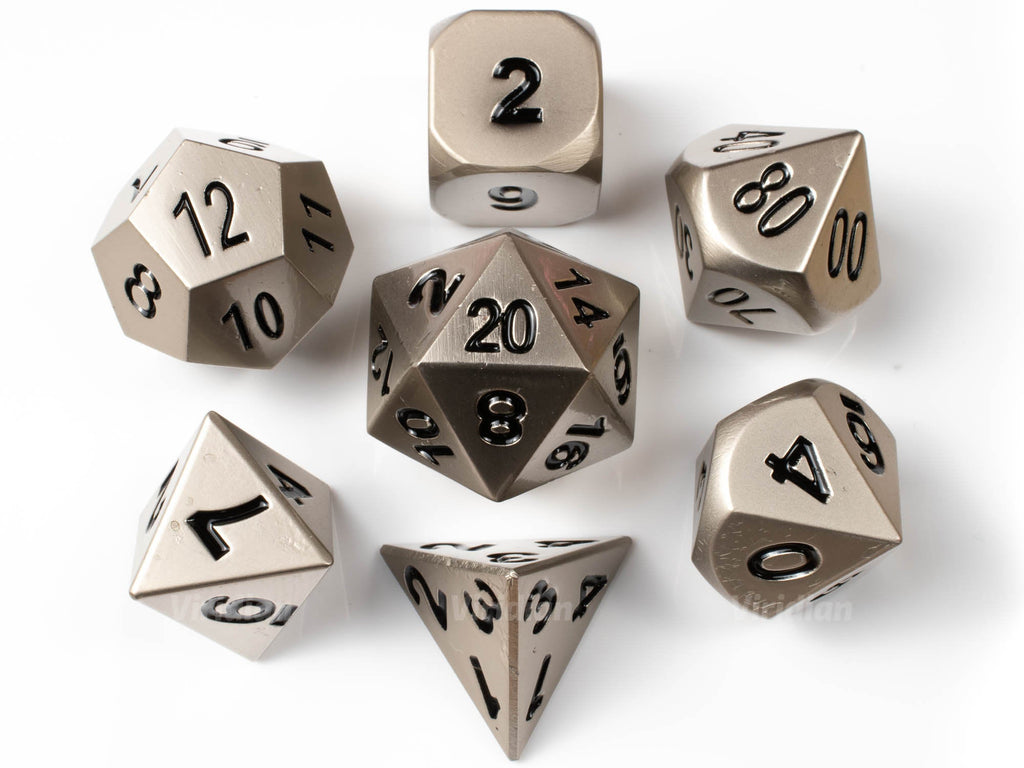 Machinist Tools | Nickel Matte Silver Metal Dice Set (7) | Dungeons and Dragons (DnD)