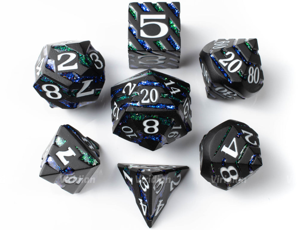 Fey Stripes | Black Metal Mica Glitter Dice Set (7) | Dungeons and Dragons (DnD) | Tabletop RPG Gaming