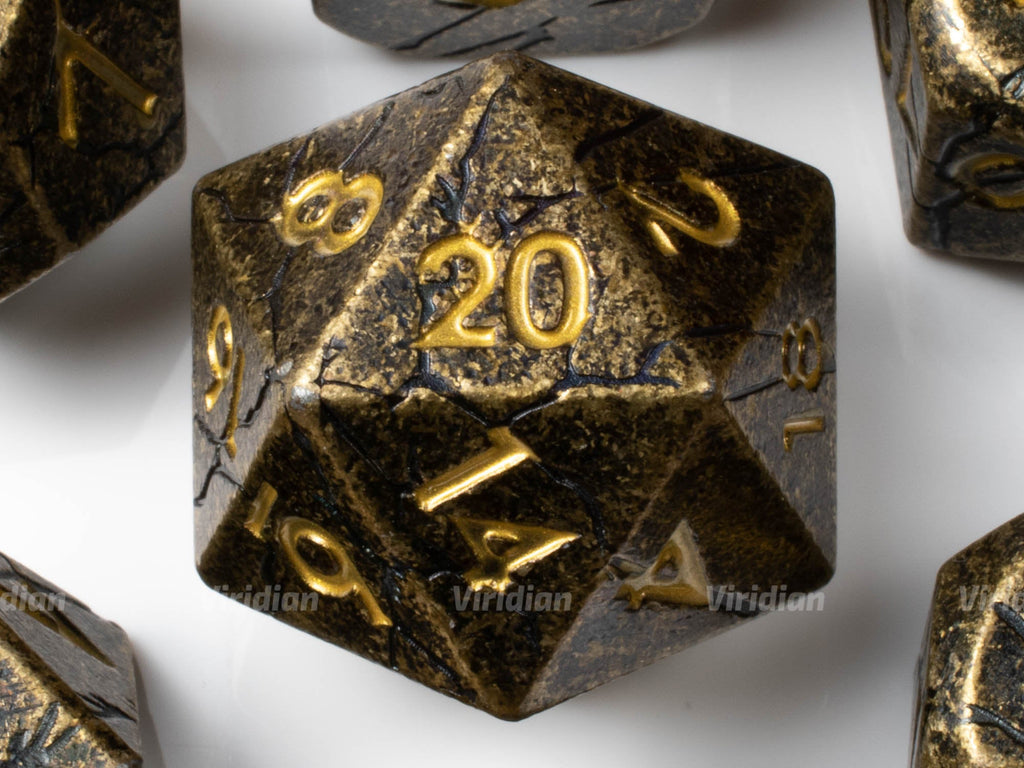 Abandoned Abbey | Distressed with Cracks Large Metal Dice Set (7) | Dungeons and Dragons (DnD) | Tabletop RPG Gaming