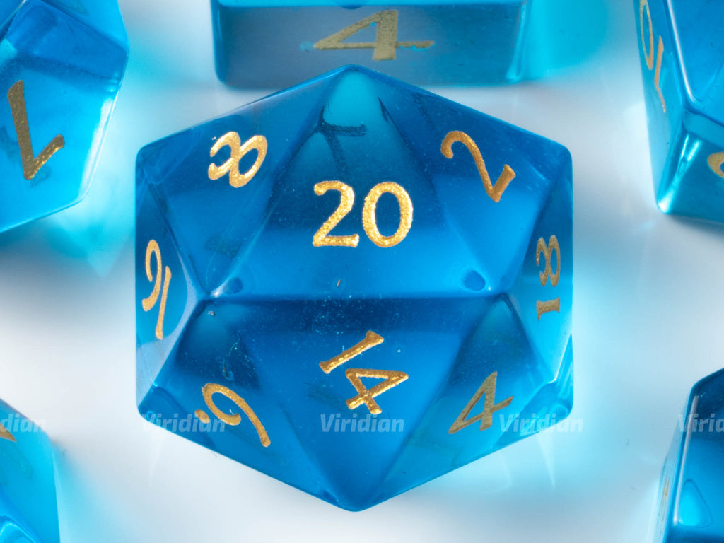 Sky Blue Glass | Real Gemstone Dice Set (7) | Dungeons and Dragons (DnD) | Tabletop RPG Gaming