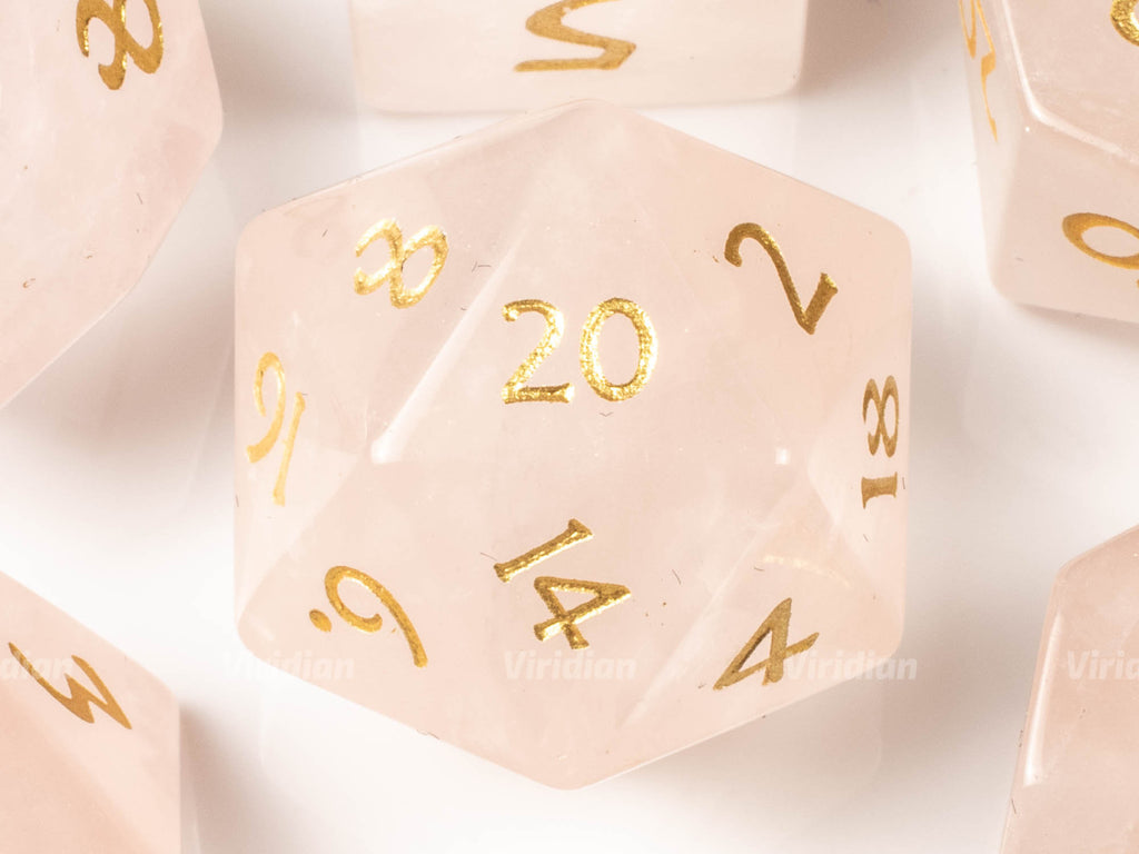 Pink Crystal | Real Gemstone Dice Set (7) | Dungeons and Dragons (DnD) | Tabletop RPG Gaming
