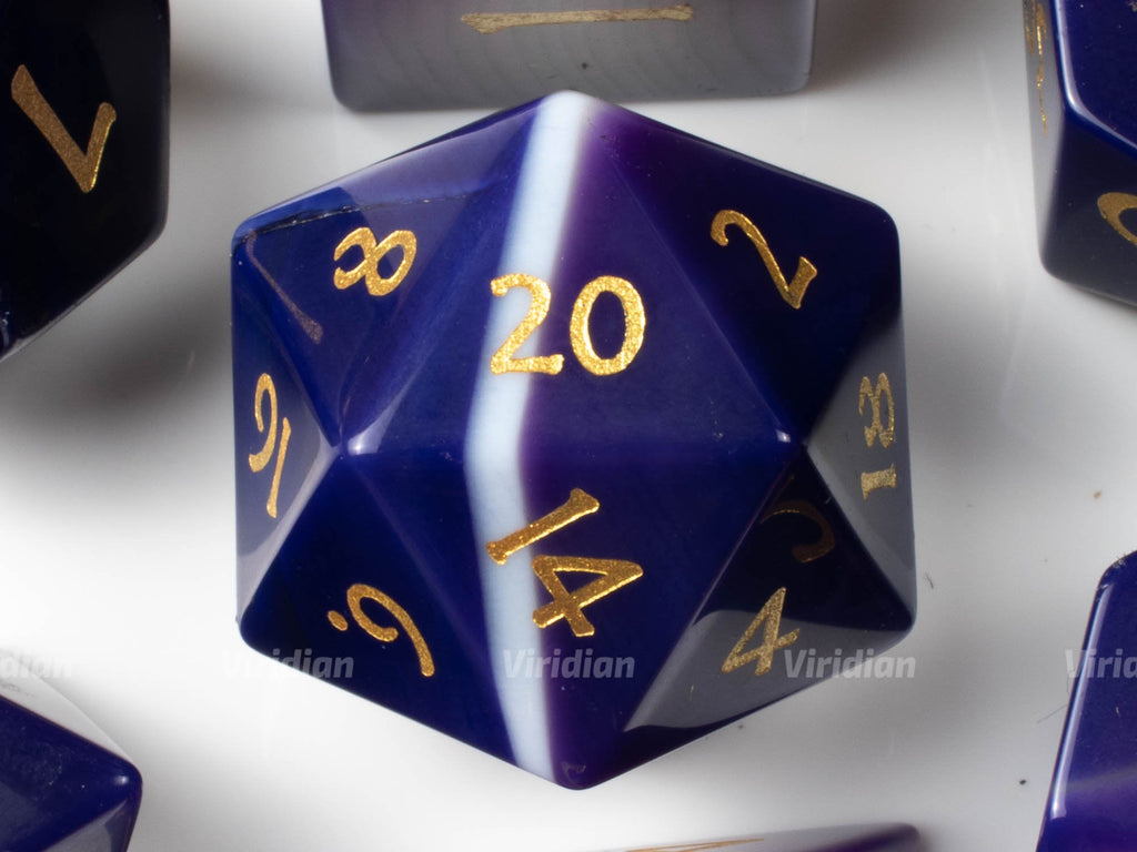 Purple Agate | Real Gemstone Dice Set (7) | Dungeons and Dragons (DnD) | Tabletop RPG Gaming