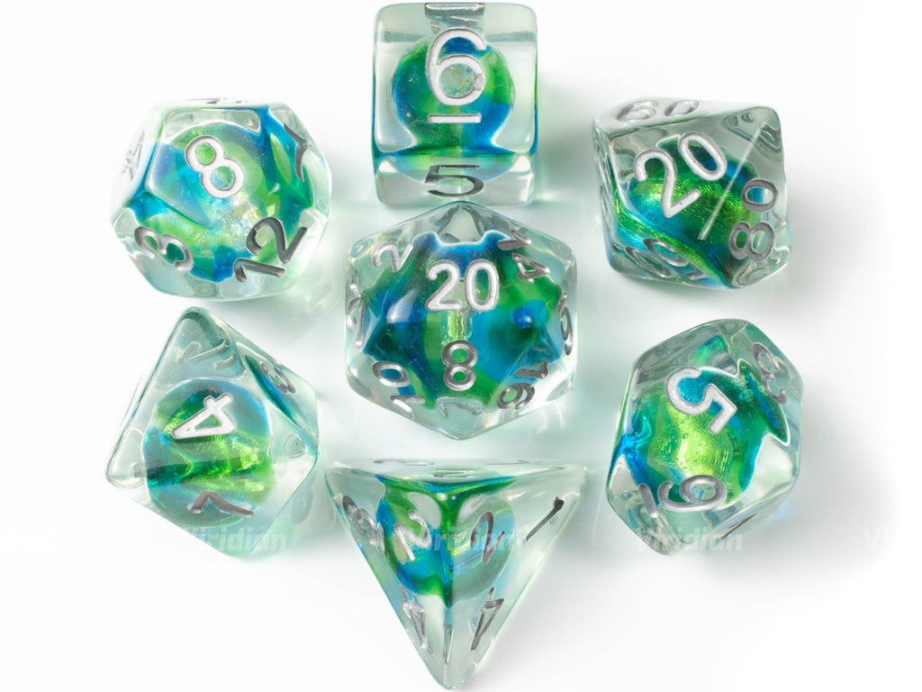 Earthsphere | Blue, Green Glass Bead Inside Resin Dice Set (7) | Dungeons and Dragons (DnD)