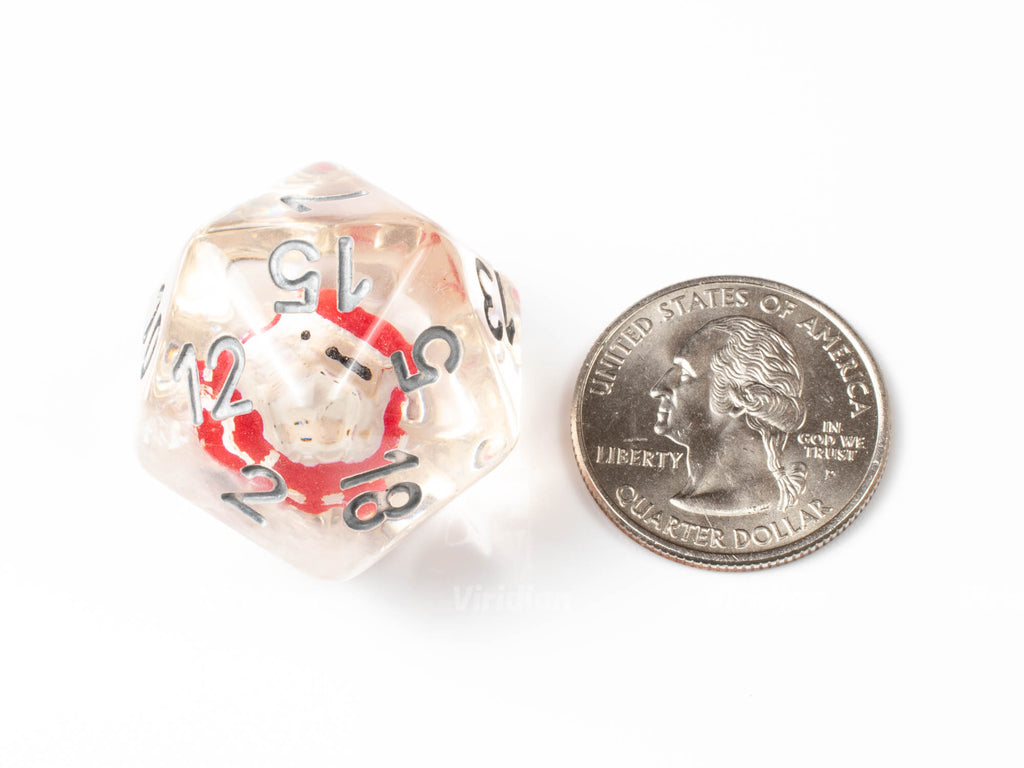 Little Saint Nick | Santa Claus and Snow Inside Large Resin Dice Set (7) | Dungeons and Dragons (DnD)