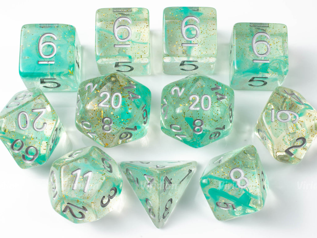 Elevenses (White) | Seafoam Green Swirled Glittery Resin Dice Set (11) | Dungeons and Dragons (DnD)