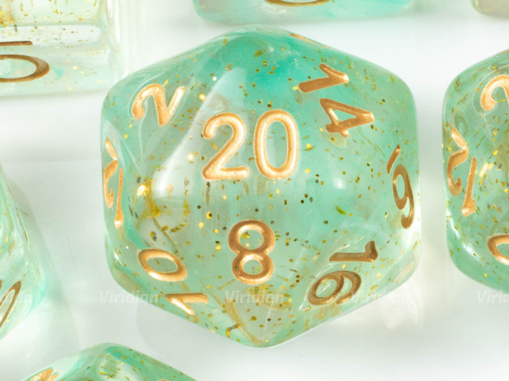 Elevenses (Gold) | Seafoam Green Swirled Glittery Resin Dice Set (11) | Dungeons and Dragons (DnD)