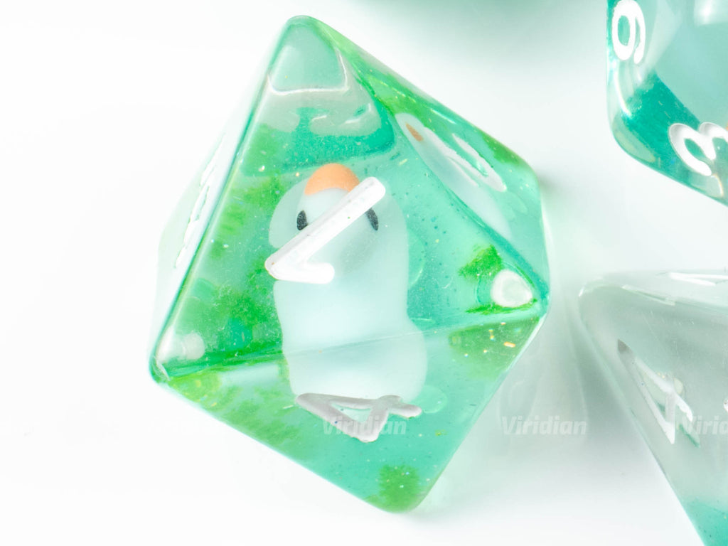 On The Pond | Blue Duck with Green Swirl Inside Resin Dice Set (7) | Dungeons and Dragons (DnD)