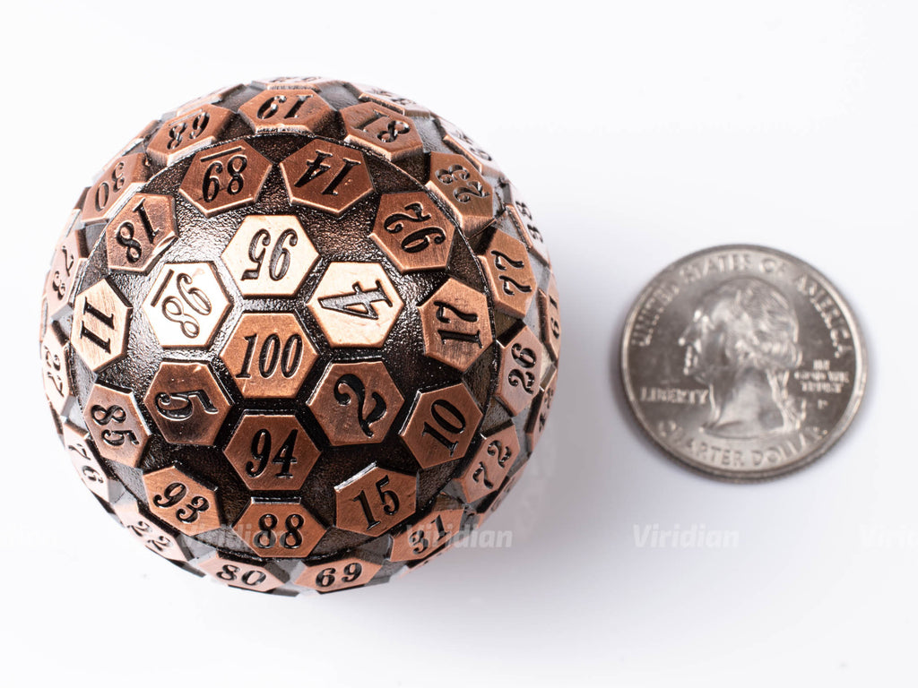 Copper D100 | Giant Metal Die (1) | Dungeons and Dragons (DnD) | Tabletop RPG Gaming